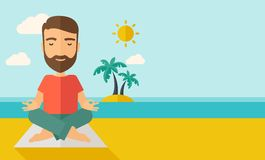 Man doing yoga in the beach. A hipster man doing yoga in the beach with his yoga pad under the sun.  Contemporary style with pastel palette, soft blue tinted Royalty Free Stock Photography