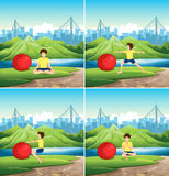 Man doing yoga with big ball in park Royalty Free Stock Images