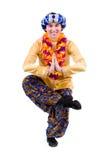 Man doing yoga exercise in pose of namaste Stock Photo