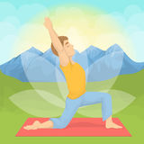 Man doing yoga. Man doing yoga in the montains. Meditation and relaxation Stock Image