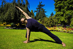 Man doing yoga in nature. Royalty Free Stock Image