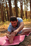 Man doing yoga in the pine forest Stock Images