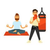 Man doing yoga on rug and boxing person in gloves Stock Images