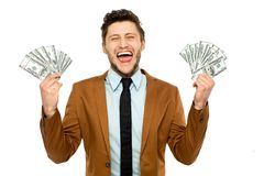 Man with dollar bills Stock Photography