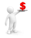 Man with Dollar (clipping path included) Royalty Free Stock Images