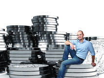 Man on dollar coin Royalty Free Stock Photography