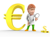 Man dollar euro. Red-haired man in a bathrobe looking through a magnifying glass on the falling dollar, and behind him is growing euro royalty free illustration