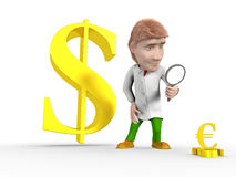 Man dollar euro. Red-haired man in a bathrobe looking through a magnifying glass on the falling euro, and behind him is growing dollar vector illustration