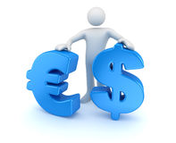 Man with dollar and euro symbol Stock Photo