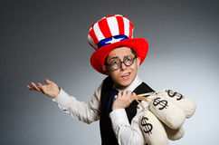 The man with dollar money sacks Stock Image