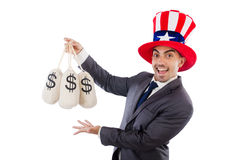 Man with dollar sacks Stock Photo