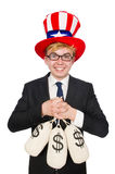 Man with dollar sacks Royalty Free Stock Images