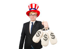 Man with dollar sacks Stock Photography
