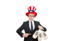 Man with dollar sacks Stock Photo