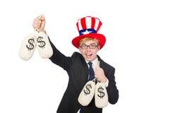 Man with dollar sacks Stock Photos