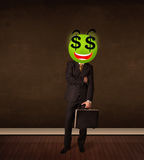Man with dollar sign smiley face Royalty Free Stock Images