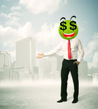 Man with dollar sign smiley face Royalty Free Stock Photo