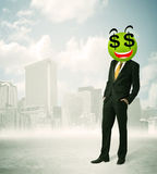 Man with dollar sign smiley face Royalty Free Stock Photos