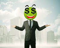 Man with dollar sign smiley face Stock Images