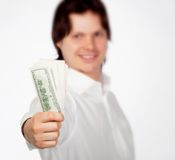 Man with dollars Stock Photography