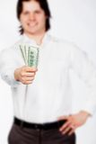 Man with dollars Royalty Free Stock Image