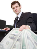 Man and dollars Stock Images