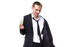 Man with dollars in kisses. Isolated photo of people with white background royalty free stock images