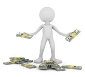 Man with dollars. A man with a pack of dollars, 3d render Royalty Free Stock Photography