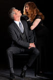 Man dominant woman couple film noir stock photo