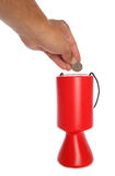 Man donating fifty pence to charity. Studio cutout Stock Photography