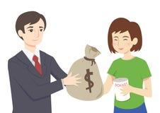 Man donating money royalty free illustration
