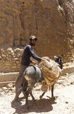Man and donkey in Kharanagh Village, Iran Stock Image