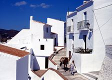 Man with donkey in village street, Frigiliana. Royalty Free Stock Image