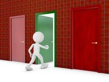 Man and door. Man passes through the green door, 3d render Stock Images