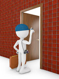 Man and door. Man with suitcase at the door 3d render Royalty Free Stock Photo