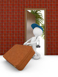 Man and door. Man with suitcase at the door 3d render Stock Images