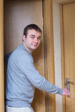 Man and doors. Royalty Free Stock Photography