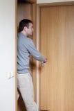 Man and doors. Stock Photo