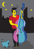 Man with double bass. Vector illustration of a man playing the double bass, and singing on the street, and a cat looking at him Royalty Free Stock Photography