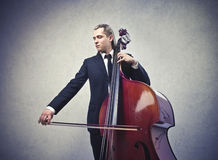 Man with a double bass Stock Photos