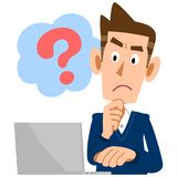 A man doubts about PC with a question mark royalty free illustration