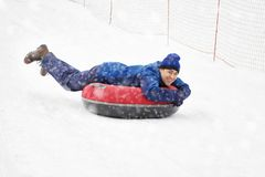 Man Downhill Winter stock image