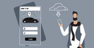 Man downloading online mobile app rent car sharing concept transportation carsharing service guy holding smartphone. Application system update horizontal sketch vector illustration