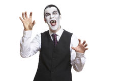 Man in dracula fancy dress costume. On white background stock photos