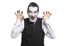 Man in dracula fancy dress costume. On white background Royalty Free Stock Photography