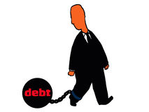 Man dragging ball and chain of debt Stock Photography