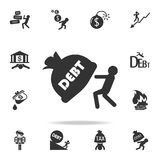 man dragging debt burden icon. Detailed set of finance, banking and profit element icons. Premium quality graphic design. One of t royalty free illustration