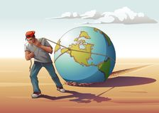 Man Dragging Globe. Vector illustration of a young man dragging a globe, showing a metaphor of how hard it is for younger generation to gain success, since they Royalty Free Stock Photography
