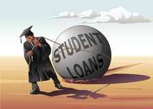 Man Dragging Student Loans. Vector illustration of a young bachelor dragging a globe, showing a metaphor of his debt to be paid for his education Royalty Free Stock Photography
