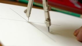 Man draw drawing tools. stock footage